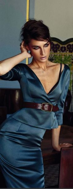 Elle Spain September 2013 Eugenia Volodina - the prwtty blue eye girl in blue - elegant dress - celebrate her special ocassion with #thewelryhut fancy designer diamonds in gold jewelry gift of love.