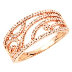 WIDE 14K ROSE GOLD PAVE DIAMOND RIGHT HAND COCKTAIL WEDDING BAND RING