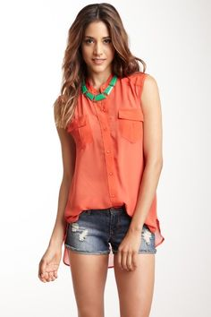 M by Marcus 2 Pocket Silk Georgette Combo Shirt by Blouse Boutique on @HauteLook