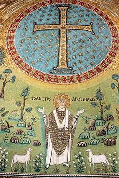 Be Dazzled by the Mosaics in Ravenna    The brilliance of the mosaics glittering within Byzantine churches and monuments is especially touching because the heavenly and earthly scenes are so painstakingly and sincerely rendered -- a last hurrah before Europe slipped into the Dark Ages.     Photo Caption: Sant'Apollinare's apse mosaics depict the eponymous saint, Ravenna's first bishop.    Photo by Riccardo De Luca