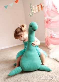 DIY Nessie, Lochness Monster or Giant Stuffed Animal | Pattern and Tutorial via We Lived Happily Ever After