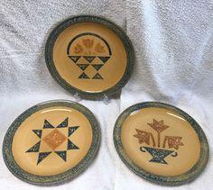 "3 Pfaltzgraff AMERICA dinner plates MAFA 10"" Basket+Star+Vase SPONGE Quilt LOT  | eBay"