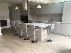 Grey Kitchen Cupboards, Grey Gloss Kitchen, Kitchen Cupboard Doors, Grey Kitchens, Grey Kitchen Designs, Pewter Grey, New Homes, Flooring, Furniture