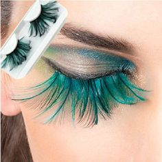 Easybuystore ®Real Feather Eyelashes 1 Pair Green Exaggerate False Eyelashes Create the fantasy makeup look of your dreams Includes 1 pair eyelashes Real feaher eyeshes handmade Feather Eyelashes, Fake Lashes, Mink Eyelashes, Kiss Makeup, Beauty Makeup, Hair Makeup, Women's Beauty, Eyeshadow Makeup, Makeup Tips