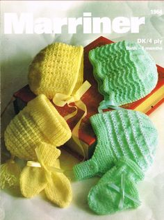 Marriner 1964    baby bonnets and hats    vintage baby knitting pattern    birth to six months sizes    4 ply and double knitting wools required