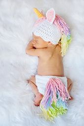 How adorable is this Unicorn Hat and Diaper Cover for a Newborn?!