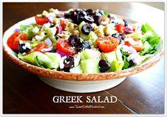 Traditional Greek Salad Recipe  http://www.sweetlittlebluebird.com/2012/02/tried-true-tuesday-greek-salad-yummy.html