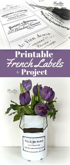 Printable French Typography Labels by Dreams Factory for The Graphics Fairy. Great DIY Shabby Style Home Decor Project included, along with a handy technique for distressing and waterproofing paper labels!