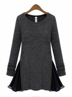 Gris foncé-Robe contrastante avec manche longue zippée  pictures