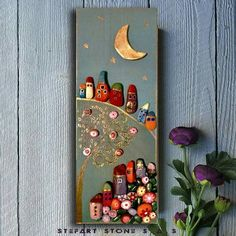 *MADE TO ORDER*- Stone Village By StefArt Stone S.A.S If you want this piece of art i will made it for 3-5 days. You are wellcome :) This picture is handmade with stones from White Sea- Greece,Kavala and White clay on woodenboard. Dimensions : 16x8inches (40х15 cm.) -Medium: acrylic,