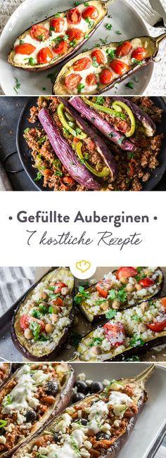 Ob vegan, vegetarisch oder mit herzhafter Fleischfüllung - die Aubergine ist ein echter Allrounder. Entdecke 7 Rezeptideen für bunt gefüllte Auberginen.
