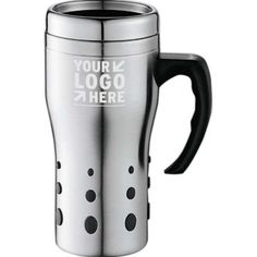 This Travel Mug has a sleek design to complement your logo. Let us source and imprint that perfect Promotional item or Gift  for your Business. Get a Free Consultation here:  http://www.promotion-specialists.com/contact-us/get-a-free-consultation/