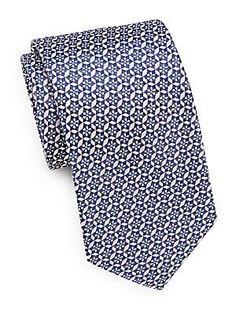 Saks Fifth Avenue Medallion Silk Tie - Blue - Size No Size