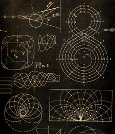 Science, physics diagrams, lines, pattern, design - not sure exactly what's going on, but I like the style