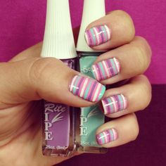 Lovely and easy to do stripped mani - Stripe Rite products make for easy nail art.