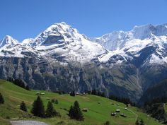 The majestic Jungfrau Berner Oberland, Switzerland. On the left side Monch is visible. On the right you can see and Ebenefluh The picture has been taken from a route above the Murren village,Berner Oberland, Switzerland. Best Places To Travel, Places To Visit, Jungfraujoch, G Adventures, Swiss Alps, Travel And Tourism, Outdoor Life, Mountain View, Nature