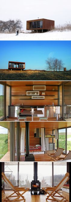 The original weeHouse, designed by Alchemy Architects and built by Geoffrey Warner. The 336-square-foot tiny house is located in Minnesota near Lake Pepin.