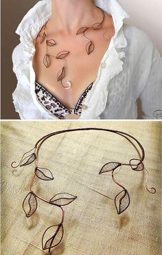 Collana foglia gioielli collana naturale di AlenaStavtseva su Etsy