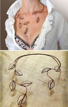 Collar follaje joyas joyería collar de plata por AlenaStavtseva