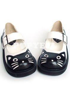 #chaussures #kitty #lolita 1.2 '' haut talon en noir et blanc Chaussures Kitty Pu Lolita a prix pas cher chez Popyell.com