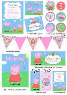 Peppa Pig Party Printables - I used these for Lily's 3rd Birthday. Peppa Pig Printables, Party Printables, Free Printables, George Pig, Birthday Party Themes, 2nd Birthday, Birthday Ideas, Pig Decorations, Printable Labels