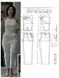 DIY - molde, corte e costura - Marlene Mukai Sewing Dress, Sewing Pants, Dress Sewing Patterns, Sewing Patterns Free, Sewing Clothes, Clothing Patterns, Jumpsuit Pattern, Pants Pattern, Fashion Sewing