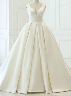 1fb0485c7438 Charming White Ball Gown Satin V-neck Backless Wedding Dress