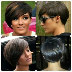 Front, sides & back views of short hair