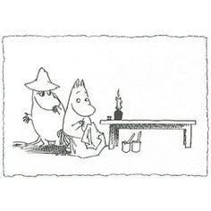 Moomin Postcard - Retro Black and White