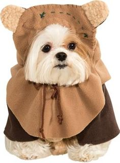 "A cuddly little Ewok costume for your favorite furry buddy! Comes with jacket and helmet! Fits medium pets 14""-16"" from neck to tail."