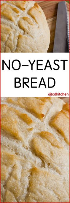 No-Yeast Bread - Out of yeast? No problem! This bread uses baking powder and baking soda combined with vinegar to make the bread rise. Made with flour, sugar, baking powder, baking soda, water… Yeast Free Recipes, Yeast Free Breads, Easy Bread Recipes, Baking Recipes, Recipes With Flour Easy, Bread Flour Recipes, Cake Recipes, Yeast Free Diet, Milk Recipes
