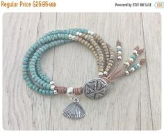ON+SALE+Beaded+Leather+Wrap+Bracelet+with+Charm,+Bracelets+for+Women,+Beaded+Wrap+Bracelet,+Boho+Wrap+Bracelet,+Beaded+Leather+Bracelet,+Boh