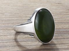 925 K Sterling Silver Gemstone Man Ring With Natural Green Jade Stone(All Sizes)