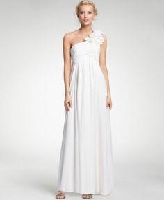 (NO.008249)2011 Style Empire One Shoulder Sleeveless Floor-length Chiffon Corsage Beach Wedding Dress For Brides