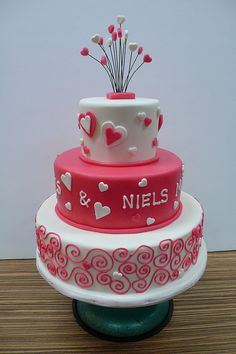 hearts swirls wedding cake by CAKE Amsterdam - Cakes by ZOBOT, via Flickr