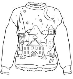 Christmas Sweater with Winter Town coloring page from Christmas Sweaters category. Select from 31983 printable crafts of cartoons, nature, animals, Bible and many more. Colouring Pages, Adult Coloring Pages, Coloring Books, Merry Christmas Images, Christmas Books, Ugly Sweater, Ugly Christmas Sweater, Christmas Coloring Sheets, Favorite Christmas Songs
