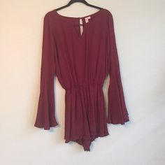 Maroon long sleeve romper The perfect Gameday romper or summer night outfit! Lightweight and fun, purchased from Altard state and never worn. Ruffles around legs and at the end of sleeves. Altar'd State Other