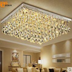 Nueva gran araña de cristal moderna lámpara de la sala de montaje empotrado LED light hotel