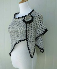 Cara kait bunga dan daun untuk beginner harap dapat membantu crochet triangle scarf shawl wrap with flower brooch ccuart Images