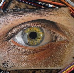 Eye can't believe it! 19-year-old Texas-based artist Jose Vergara has created a series of photo-realistic drawings, pictured, using colored ...