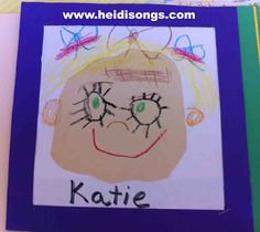 Kindergarten Lesson Plans, Week One! | Heidi Songs (scroll down for the self-portrait art project. They get a square piece of paper and cut off the corners to make a circle-ish shape)