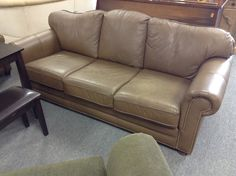 Leather Sofa and Chair - Excellent condition. Sofa is 83 inches long. Nice nail head trim.  Item 830-1 & 830-2.  Price $1050.00   - http://takeitorleaveit.co/2015/05/26/leather-sofa-and-chair/
