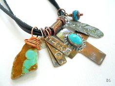 Handmade Southwest Blue Turquoise Copper Cross by jewelrybyDebra, $100.00
