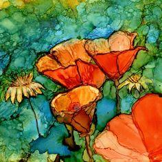 Dye Sublimation Imprint of Alcohol Ink painting on Glossy Ceramic Tile - one 6x6 Tile/trivet - Alcohol Inks- Trivet- Orange Poppies- Flowers