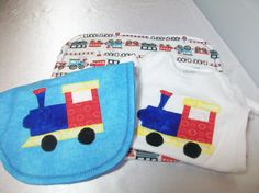 Baby Boy Gift Set  Train Baby  Bib  Boy Bodysuit by PeaPodLilFrogs, $30.00