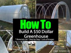 How to Build a $50 Greenhouse | Having a small greenhouse can be all that you need to get a jump start on the season or possibly grow those plants which need a little extra protection. Over at the doorgarden.com they built a hoop greenhouse for $50… it did take some recycle, freecycle, and scrounging. | #greenhouse #frugal Build A Greenhouse, Layout, Awesome, Website, Building, Signs, Home Decor, Construction, Homemade Home Decor