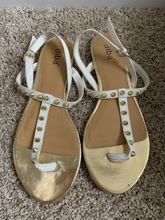 dc0fecfab13c05 Diba White And Gold Spiked Sandals Size 9  fashion  clothing  shoes   accessories