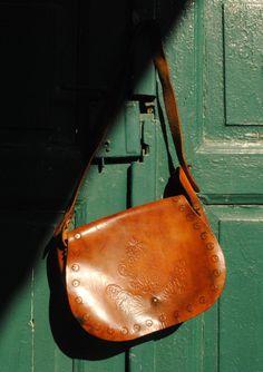 leather boho shoulder bag, tooled leather bag, medium leather shoulder bag, genuine leather african bag, ethnic tooled bag