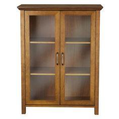 Oak Finish Bathroom Floor Cabinet with 2 Glass Doors & Storage Shelves