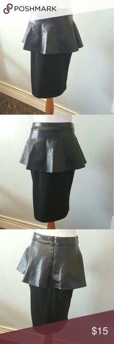 Peplum faux leather skirt Massimo black peplum faux leather skirt in perfect condition like new,  polyester and rayon blend Mossimo Supply Co Skirts Midi